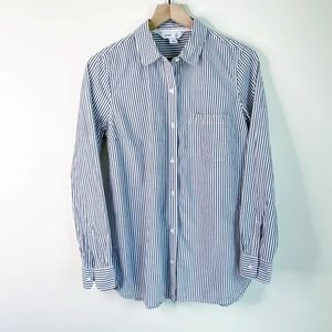 OLD NAVY Blue White Striped The Tunic Shirt Button